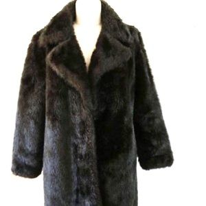 Vintage Faux Fur Coat Sz 14 Dk Brown Made in USA